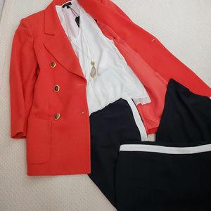 Vintage Christian Dior Red Dbl Brsted Wool Blazer